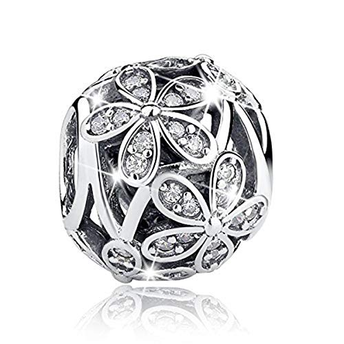 (BAMOER Charm Daisy CZ Charms with 925 Sterling Silver for DIY Charms Bracelet Necklaces)