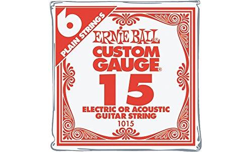 Ernie Ball Nickel Plain Single Guitar String .015 Gauge 6-Pack