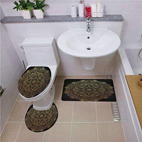 Tiger Yellow Round Gold (Bath mat set Round-Shaped Toilet Mat Area Rug Toilet Lid Covers 3PCS,Gold Mandala,Ornate Paisley Round Lace Like Hand Drawn Abstract Decorative Retro Decorative,Dark Blue Gold Yellow ,Bath mat set Rou)