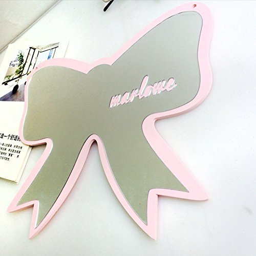 Habudda Nursery Cute Decorative Mirror Wooden Frame Fun Bow Shaped Clear Acrylic Mirror Easy Install Baby Room Princess Wall Mirror by Habudda