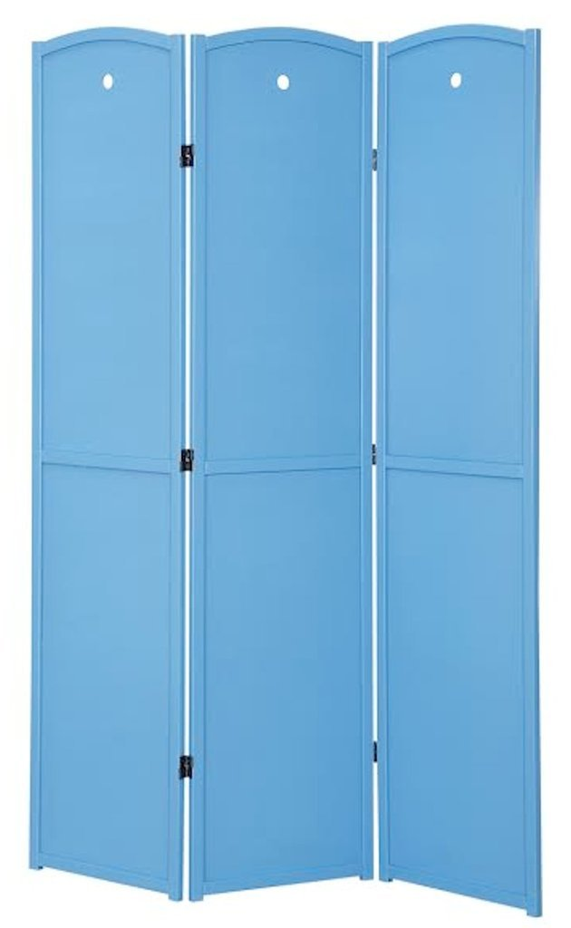 Legacy Decor 3-Panel, Blue Color Childrens Room Divider, Solid Wood Screen Room Divider
