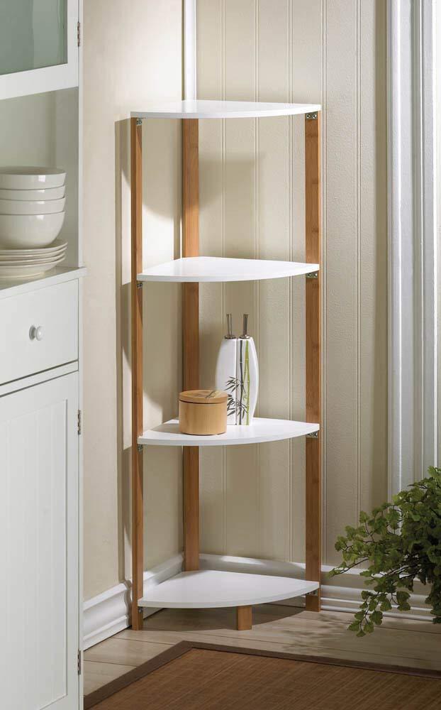 RX-789 Wood Metal Bamboo Sleek Frame Corner Shelf Display Stand Shelves White 16.8''x11.9''x41.5'' by RX-789 (Image #2)