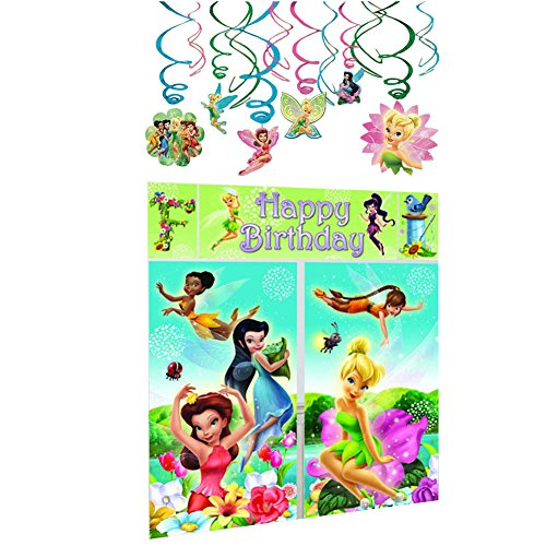Tinkerbell Decorations (Amscan Disney Fairies Tinkerbell Party Decorations Bundle - Scene Setter Wall Decorating Kit and Hanging Swirl Decorations)