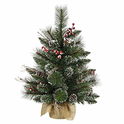 Vickerman B166224 Snow Tipped Pine & Berry Tree with Berries, Vines, Real Pine Cones & 52 PVC Tips In Burlap Base, 2' x 16
