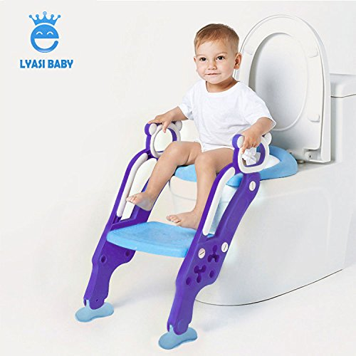 LYASI Potty Training Seat, Toilet Training Seat with Non-Slip Step Stool Ladder for Toddlers,Kids and Baby,Potty Seat with Step,Toilet Seat Chair Taizhou Elsababy Products Co Ltd