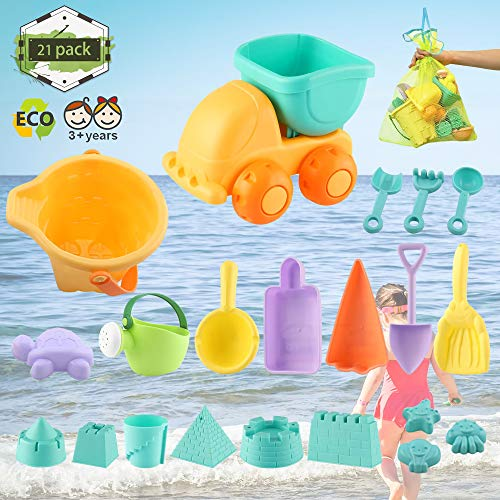 Chanvi Beach Toys Set, Toddler Beach Sand Toy Pool Bath Play Sets (21 pcs)- Included Mesh Bag, Soft Plastic Sandbox Toys with Sand Truck Bucket Shovels Rakes Beach Castle Molds Sea Animal Molds