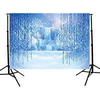 DODOING 5x7ft Christmas Vinyl Winter Frozen Snow Ice Crystal Pendant World Backdrops Photography Background for Children Photo Studio Props Backdrop