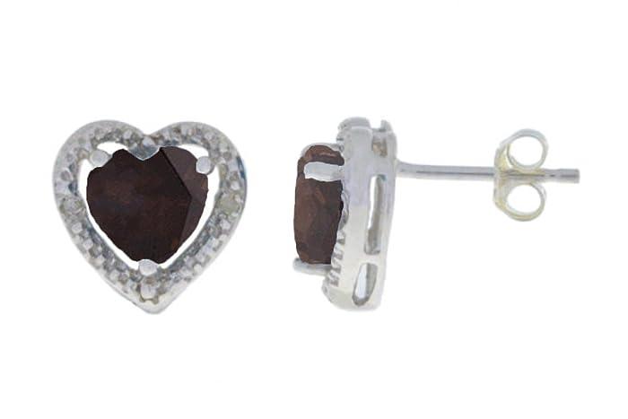 ec12e7f4e92 Amazon.com: 2 Ct Genuine Smoky Topaz & Diamond Heart Stud Earrings ...