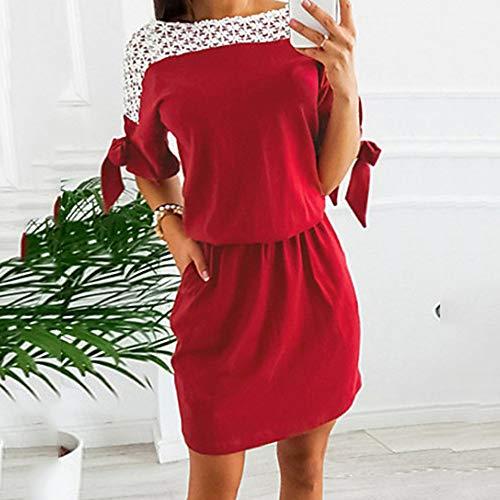 JIZHI Encaje Color Red Básico Un Mujer XXL Vaina Mini Vestido fA1Sp4
