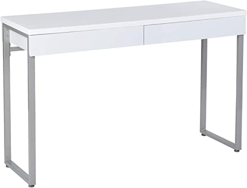 GreenForest Vanity Table 47 Gloss White Console Table Computer Makeup Desk with 2 Small Drawers and Solid Metal Legs for Living Room Entryway Hallways