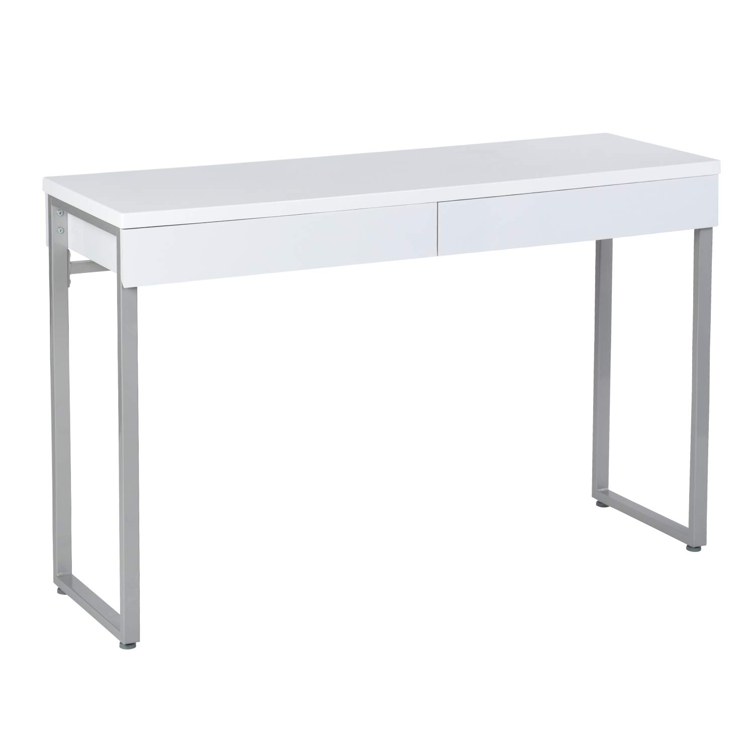 GreenForest Vanity Table 47'' Gloss White Console Table Computer Makeup Desk with 2 Small Drawers and Solid Metal Legs for Living Room Entryway Hallways by GreenForest