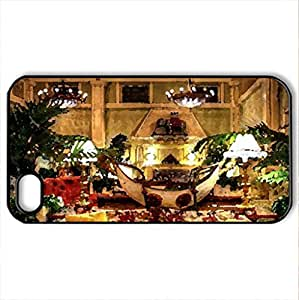luxury hotel lobby hdr - Case Cover for iPhone 4 and 4s (Watercolor style, Black)