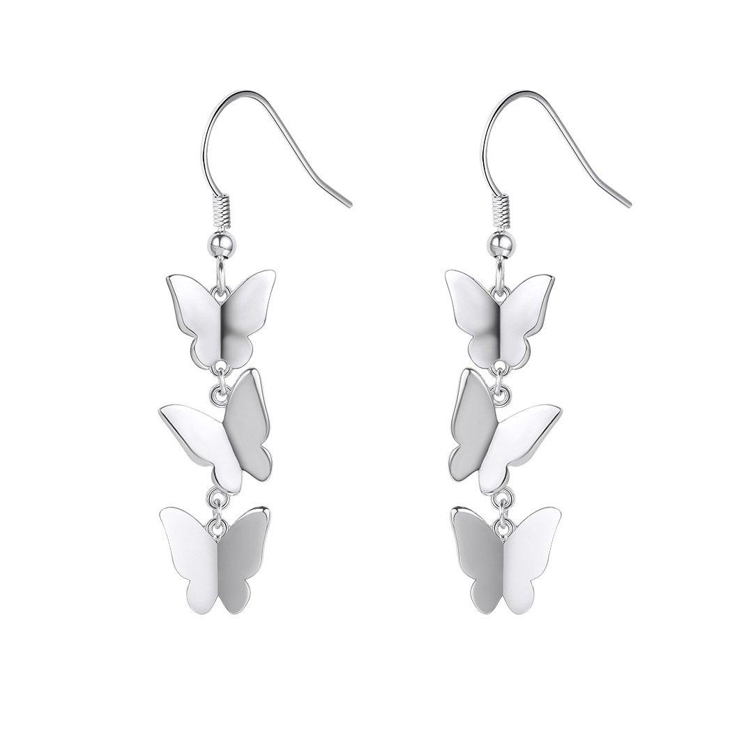 Silver Dangling Earrings 925 Sterling Silver Butterfly Drop Earrings Fish-hook Backfinding by SILVERCUTE (Image #1)