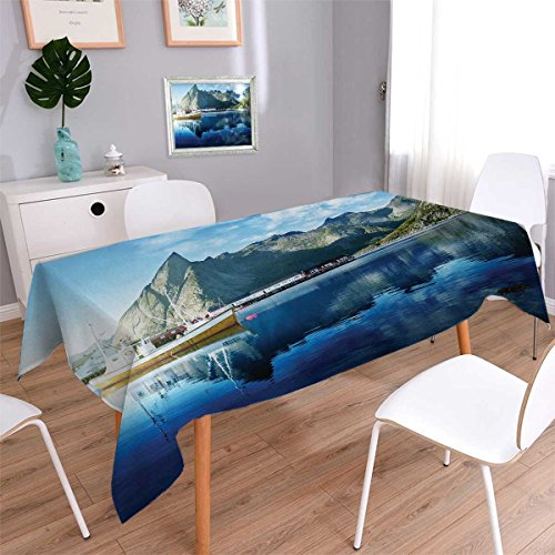 Arctic Sun Tabletop (Anmaseven European Oblong Dinning Tabletop Decor Sunset in Norwegian Lake by Fjords Formation Yacht Fishing Arctic Harbor Island Print Table Cover for Kitchen Blue Size: W54 x L72)