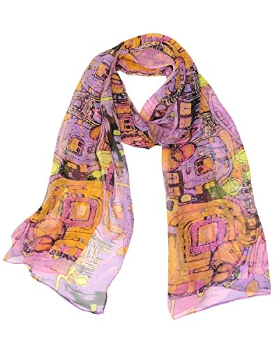Wrapables Lightweight Sheer Silky Feeling Chiffon Scarf, Abstract Pink