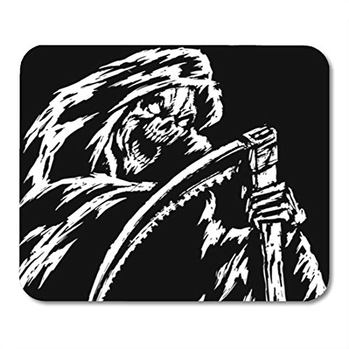 Semtomn Gaming Mouse Pad The Grim Reaper Black and White Colors Scary Horror Character 9.5