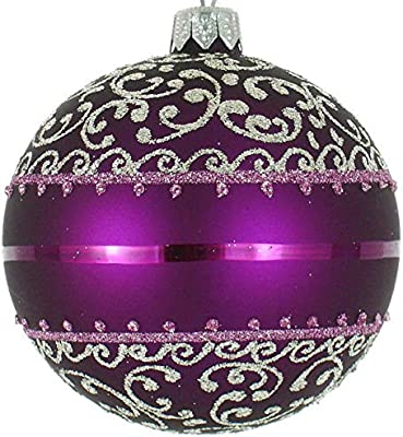 Purple And Silver Christmas Trees.Badash European Mouth Blown 4 Glass Purple And Silver