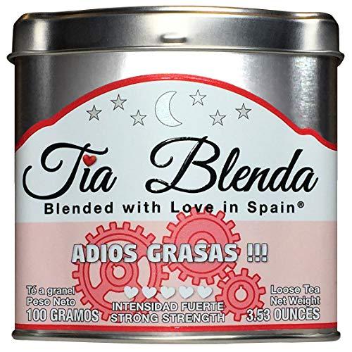 TIA BLENDA - ADIOS GRASAS (100 g) - Mezcla Exclusiva de TE ROJO PU-ERH Imperial Premium, JENGIBRE y CANELA Te en hojas 40 - 50 tazas Presentacion premium en lata Loose Tea Caddy