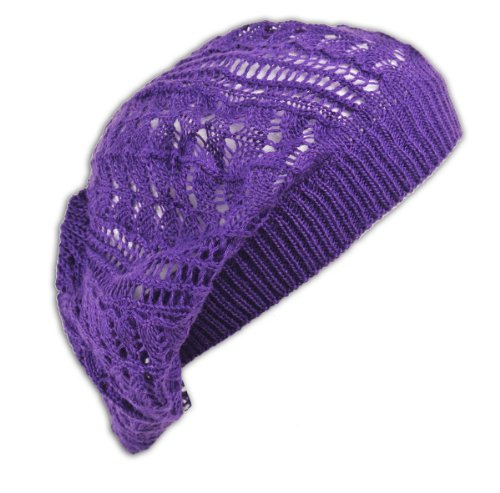 (Womens Fashion Crochet Beanie Hat Knit Beret Skull Cap Tam (Purple))