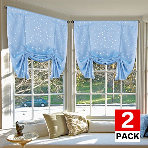 H.VERSAILTEX Bedroom Curtain 2 Panels - Sky Blue Star Thermal Insulated Blackout Tie Up Shades for Kitchen/Studio/Kid's Room, Privacy Assured (Rod Pocket Panels, 42W x 63L)