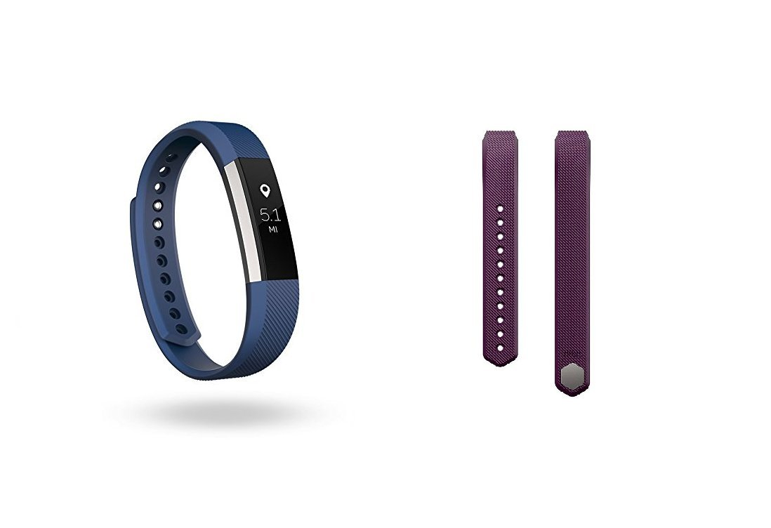 Fitbit Alta (Blue, Large) + Accessory Band (Plum, Large) by Fitbit