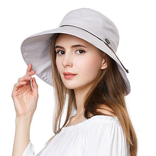 (Summer Sun Hats for Women Bucket Travel Fishing Safari Beach Hat Foldable Cotton SPF Grey SiggiHat )