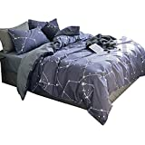 VClife Greyish Purple Pure Cotton Bedding Sets Chic Constellation Duvet Cover Sets with 2 Pillow Shams Ultra Soft Bedding Duvet Cover Sets Universe Galaxy Style 3 Pcs Queen/Full Bedding Collection