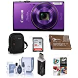 Canon PowerShot ELPH 360 HS 20.2MP Digital Camera, Purple - Bundle with Camera Case, 32GB Class 10 SDHC Card, Spare Battery, Cleaning Kit, Card Reader, Software Package