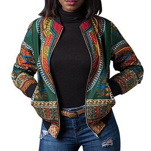 DAYLIN Chaquetas Mujer Otoño Casual Africano Impresión Abrigo de Manga Larga Verde