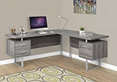 Sleek and contemporary, this extra-long L shaped corner computer desk is the perfect combination of function, durability and design in a modern form. Finished in Dark Taupe reclaimed look on all sides, this work station with the thick floatin...