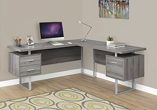 Monarch Specialties I 7304 Computer Desk Left or Right Facing Dark Taupe 70''L by Monarch Specialties