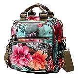 Womens Fashion Crossbody Shoulder Bag Flower Printing Purse Handbags Multi purpose Shoulder Backpack Green
