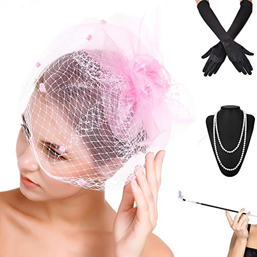 Fascinators Pillbox Tea Hat for Women Tea Party Accessories Set - Kentucky Derby Headband,Long Cigarette Holder, Opera Satin Long Gloves,Pearls Necklace & Elastic Bracelet, Pink