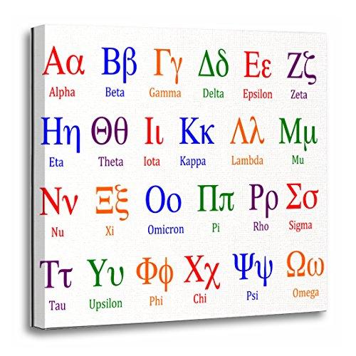 TORASS Canvas Wall Art Print Symbols Greek Alphabet Colorful Upper Science Artwork for Home Decor 20