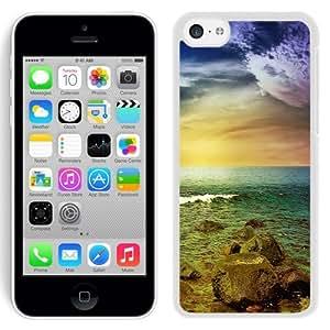 NEW Unique Custom Designed iPhone 5C Phone Case With Stormy Sea Rocks Sunset_White Phone Case
