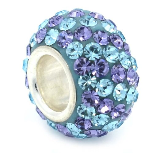 """Pro Jewelry .925 Sterling Silver """"Baby Blue & Purple"""" Diagonally Banded Crystal Charm Bead for Snake Chain Charm Bracelet"""