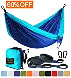 Image of Outdoor Camping Hammock - Portable Anti-fade Nylon Single & Double Hammock with 2 Piece 14 or 16 Loop Straps by FARLAND - Parachute Lightweight Hammock for Hiking Backpacking