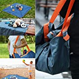 XWU 2 in 1 Waterproof Travel Bag and Beach Blanket Outdoor Multifunction Sand Proof Lightweight Picnic Mat Camping Blanket for Outdoor Beach Camping Hiking Sports Picnic Blanket Bag