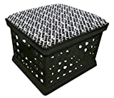 Black Utility Crate Storage Container Ottoman Bench Stool for Office/Home/School/Preschools with Your Choice of Seat Cushion Theme! (Star Wars)