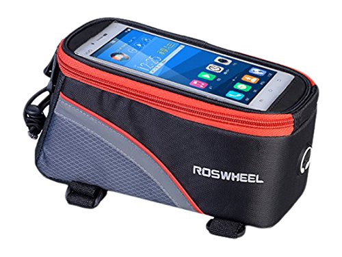 Mtb Bike Frames - Roswheel Bicycle Frame Pannier & Front Tube Cell Phone Bag, Red/Gray