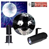 8'' Mirror Ball Complete Party Kit with LED Pinspot and Motor - Adkins Professional Lighting