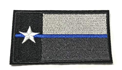 Texas State Flag Embroidered Patch Iron-On TX Lone Star Thin Blue Line American USA Flag Tactical Military Morale America Military US World Logo Sew-on Uniform Emblem Badge DIY Appliques Application]()