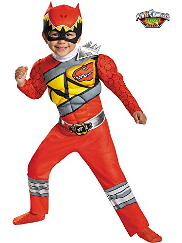 Disguise Red Ranger Dino Charge Toddler Muscle Costume, Medium -