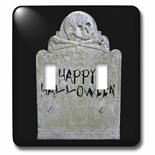 3dRose Xander holiday quotes - Happy Halloween picture of tombstone with black lettering on it - Light Switch Covers - double toggle switch (lsp_201933_2) -