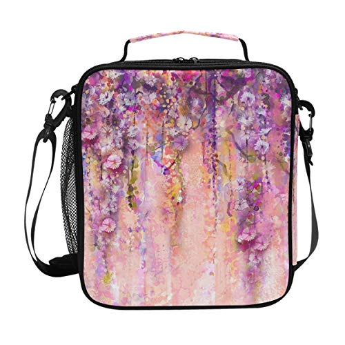 Anmarco Pink Violet Watercolor Flowers Painting Wisteria Tree Lunch Tote Bag Lunch Organizer Insulated Lunch Cooler Bag with Detachable Shoulder Strap for Women Men Kids