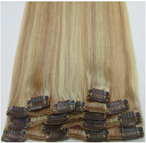 Dreambeauty 7pcs Clip in Remy Human Caucasian Hair Extensions 12/613 Blonde Highlight Color (Caucasian Wigs)