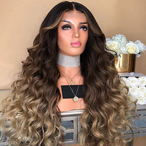 Dumanfs Girl Gradient Natural Brown Party Wig Long Wavy Full Curly Hair Fashion Synthetic Wig (Cute Emo Girl With Long Black Hair)