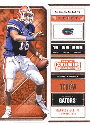 Gators Tim Tebow Florida - 2018 Panini Contenders Draft Picks Season Ticket #92 Tim Tebow Florida Gators Football Card