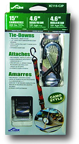 S-Line XC115-C2P Heavy Duty Cam Buckle Strap with Large S-Hooks and Keeper Clip, 1-1/4-Inch by 15-Feet, 400-Pounds Working Load Limit, Camouflage, 2-Pack