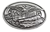 Nocona Men's Silver Eagle Flag Buckle, silver, One Size